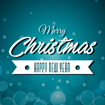 grahic: merry christmas and happy new year label grahic vector illustration Illustration