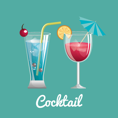 limon: two cocktail glass with straw and umbrella design vector illustration Illustration