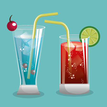 two cocktail glass with fruit design vector illustration