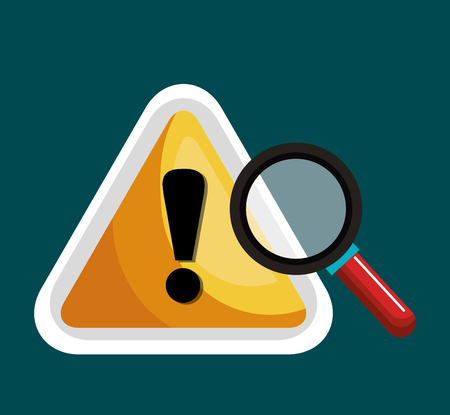 warning graphic: warning symbol and search graphic isolaed vector illustration