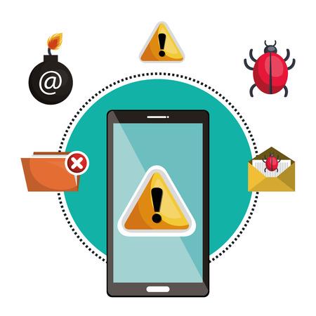 concept virus smartphone warning design vector illustration Illustration