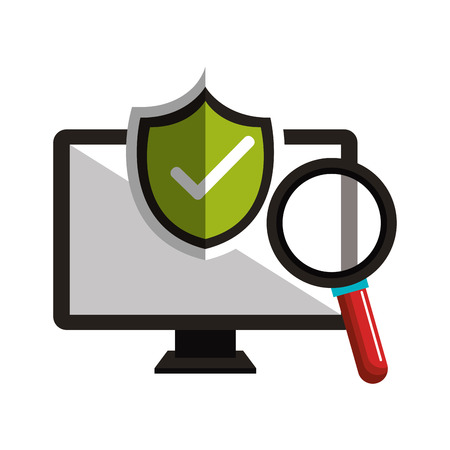 monitor checkmark search design vector illustration Illustration