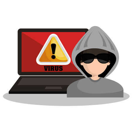 hijack: warning virus hacker laptop graphic vector illustration