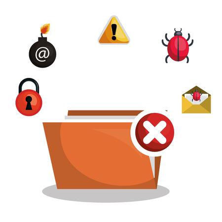 folder file virus alert graphic vector illustration