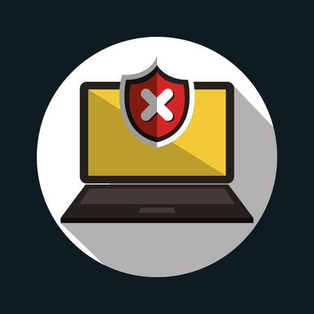 file not found: laptop error warning design vector illustration Illustration