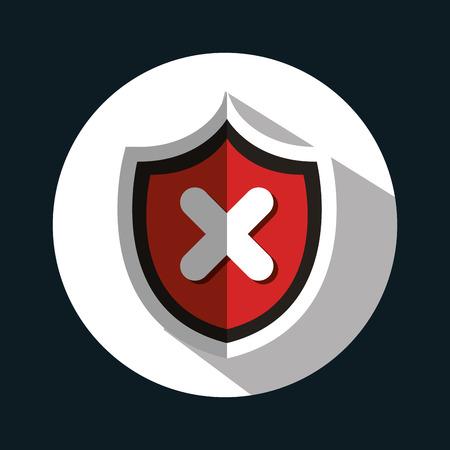 virus protection: button virus protection error isolated vector illustration