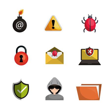 ddos: antivirus security file data system design vector illustration