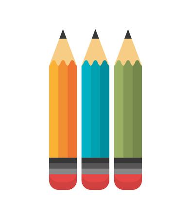 cartoon three pencil school design vector illustration Illustration