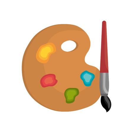 pallette: brosse peinture pallette dessin animé couleur isolé graphique illustration vectorielle