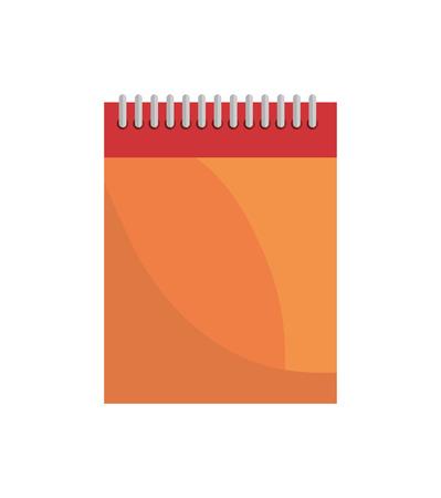 spiral notebook: cartoon notebook orange with spiral design vector illustration
