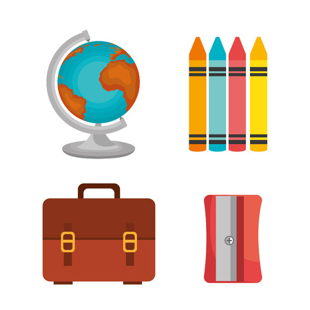 bag crayons sharperner globe design vector illustration