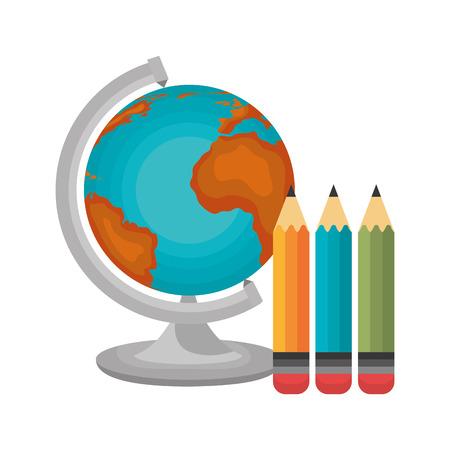 globe and three pencil graphic vector illustration