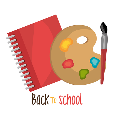 brusch: back to school notebook and paint brusch design vector illustration