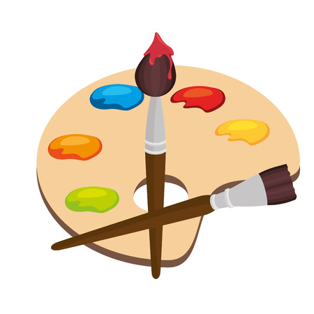 cartoon pallette paint color brush isolated graphic vector illustration eps 10