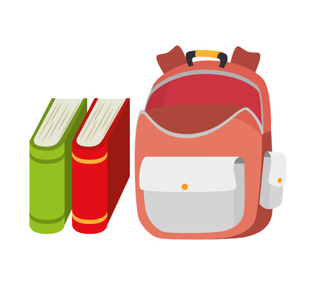 backpack school: backpack school bag and book design vector illustration eps 10
