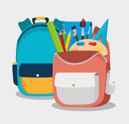 backpack school: two backpack school bag design vector illustration eps 10