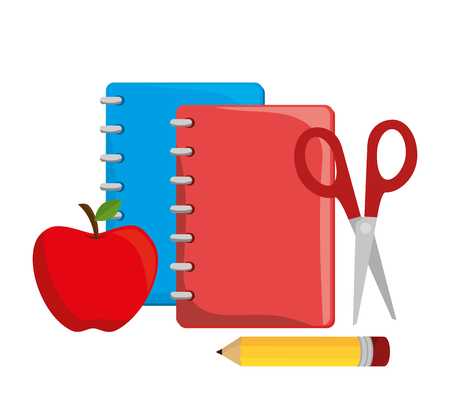 cartoon notebook red with scissors pencil and apple design vector illustration eps 10