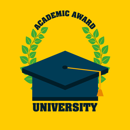 graduated: university emblem education icon vector illustration design Illustration