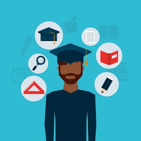 online degree: university student graduation icon vector illustration design
