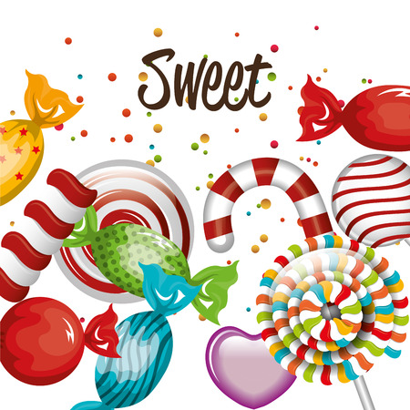sweet candies lollipop cane traditional design vector illustration eps 10