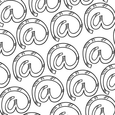 navigation panel: at symbol background pattern. drawn design. vector illustration