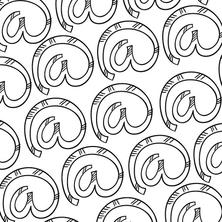 inet symbol: at symbol background pattern. drawn design. vector illustration