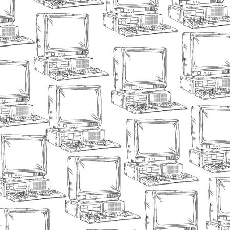 old pc: retro computer device background drawn design. vector illustration
