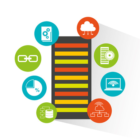 big data center flat icons vector illustration design
