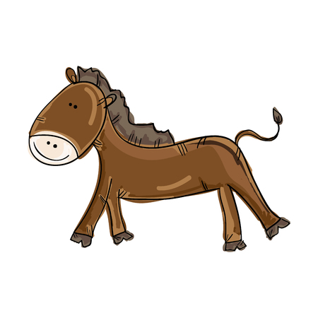 brown horse: brown horse smiling animal cartoon. drawn design. vector illustration