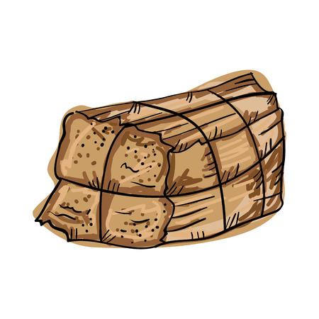 bale: bale of hay stack. farm element. drawn design vector illustration Illustration