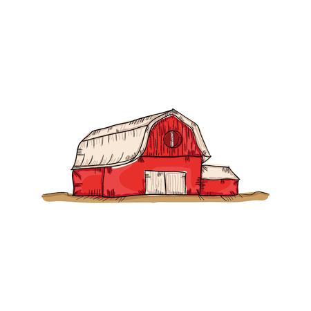 barn wood: red farm barn building. drawn design. vector illustration Illustration