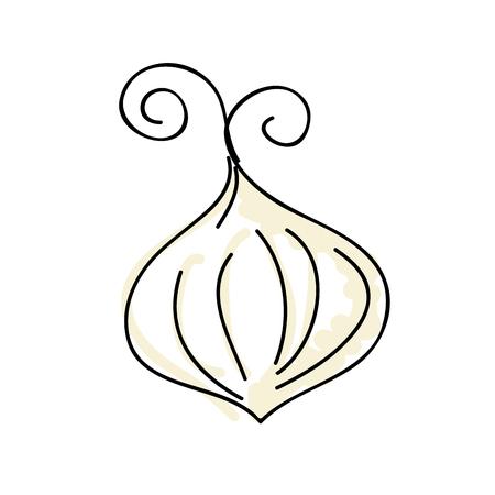 ailment: garlic vegetable healthy food. drawn design vector illustration Illustration