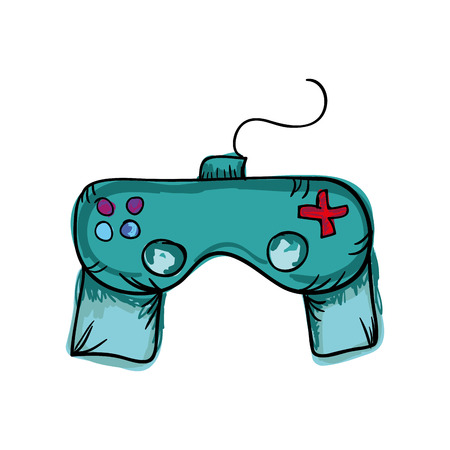 videogame: control player videogame with joystick and buttons. drawn design. vector illustration