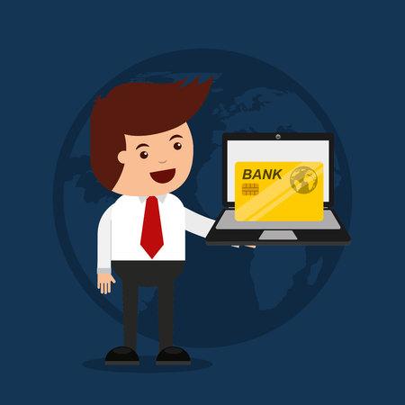 e commerce icon: credit card with commerce icon vector illustration design