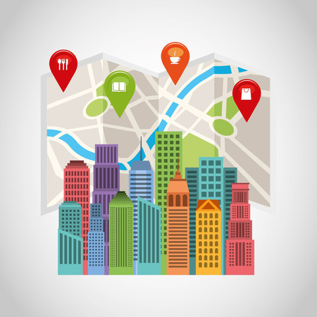 cityscape with gps service icon vector illustration design