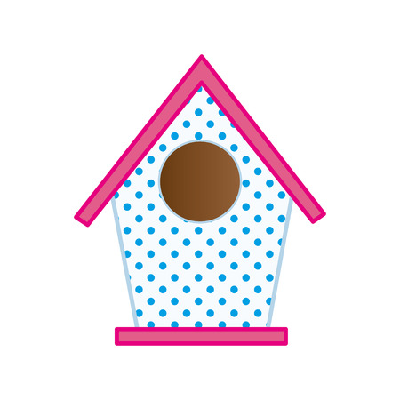 pink roof: nesting box. bird house with pink roof. vector illustration