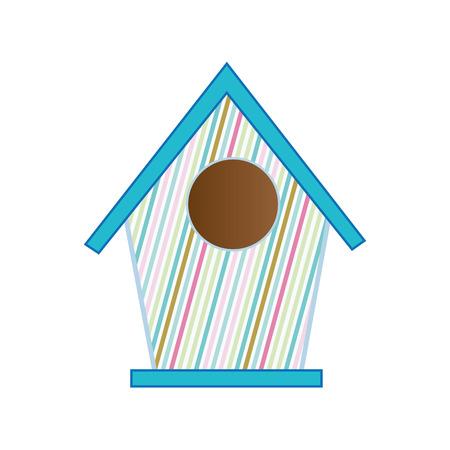 nesting box. bird house with blue roof. vector illustration Illustration