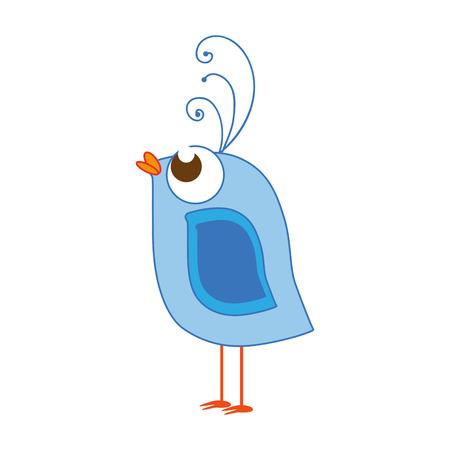 animal cute bird with blue wings cartoon vector illustration Illustration