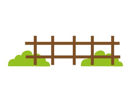 coarse: brown fence wooden and green grass bush. vector illustration