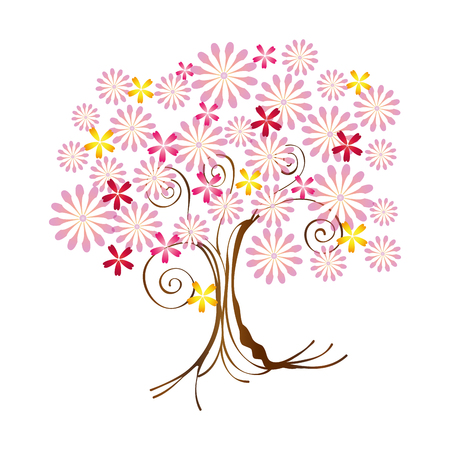Tree tall plant with pink flowers foliage and brown trunk drawn tree tall plant with pink flowers foliage and brown trunk drawn design vector illustration mightylinksfo