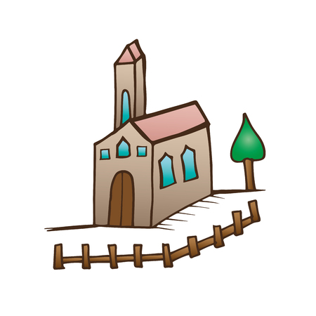 church building with fence and tree. drawn design. vector illustration