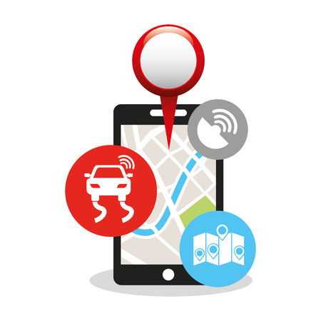 gps device: electronic device with gps service vector illustration design Illustration