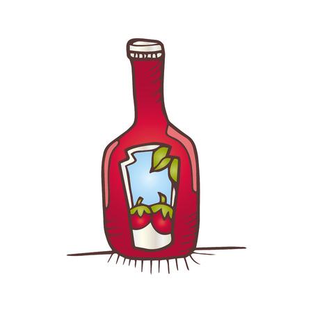 ketchup bottle: tomato ketchup bottle sauce food. drawn design. vector illustration
