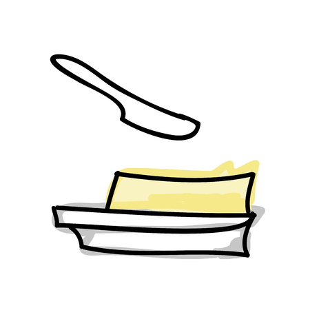 butter knife: block of butter and knife. breakfast food. drawn design. vector illustration