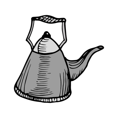 kitchen utensil: gray kettle pot kitchen utensil. drawn design. vector illustration