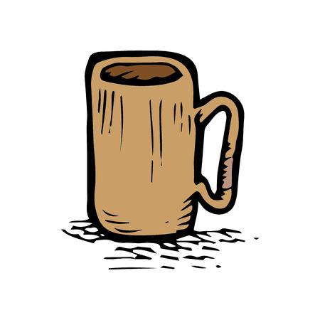caffeine: coffee mug beverage. caffeine drink. hand drawn design vector illustration