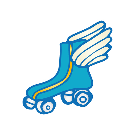 blue roller: blue roller skates with wings. sport game equipment. vector illustration