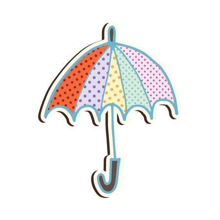 open umbrella with colorful stripes. weather rain accessory. vector illustration Illustration