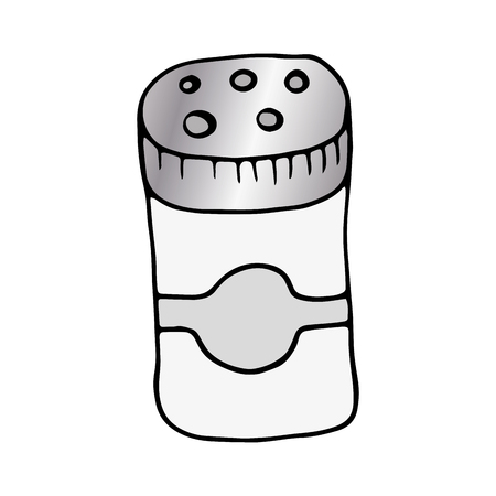 salt shaker: salt shaker bottle kitchen utensil. drawn design. vector illustration