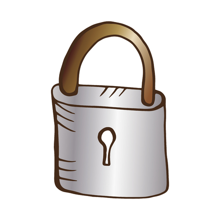 drawn metal: metal lock closed with keyhole. drawn design. vector illustration